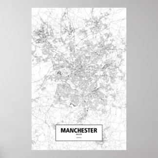 Manchester England (svarten på vit) Poster
