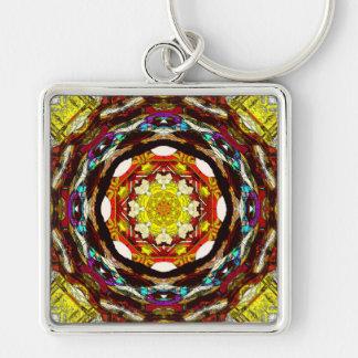 Mandala av ljust fyrkantig silverfärgad nyckelring