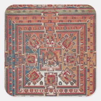 Mandala av Vaishravana Fyrkantigt Klistermärke