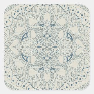Mandala för blått- och krämHennastil Fyrkantigt Klistermärke