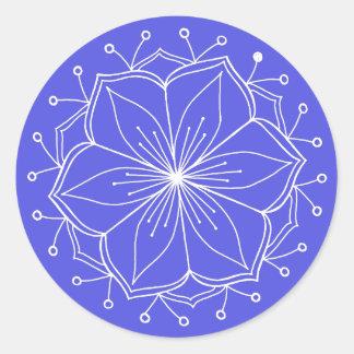 Mandala för blåttlotusblommablomma runt klistermärke