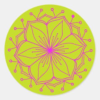 Mandala för blomma för hallonlimefruktlotusblomma runt klistermärke