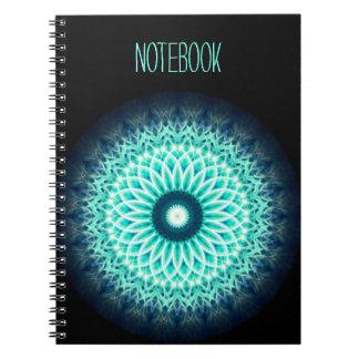 Mandala för lotusblomma för blått för malltext   anteckningsbok
