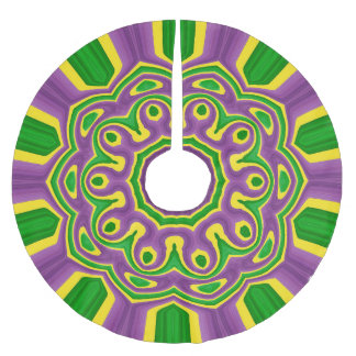 Mandala för mönster för lilor för Mardi Gras Julgransmatta Borstad Polyester