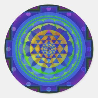 Mandala för Om (AUM) Yantra Runt Klistermärke