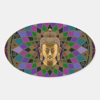Mandala för Om Buddha Ovalt Klistermärke