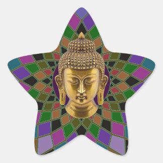 Mandala för Om Buddha Stjärnformat Klistermärke