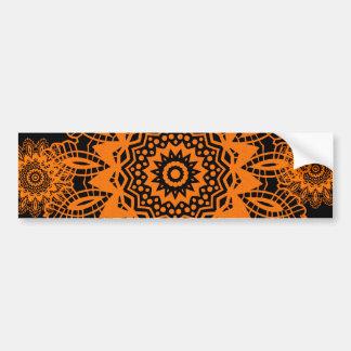 Mandala för orange- och svartsnöreDoilySnowflake Bildekal