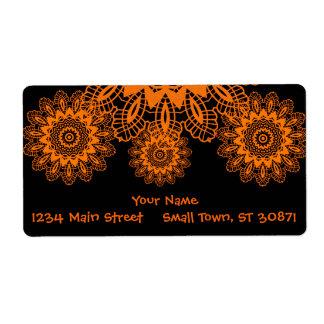 Mandala för orange- och svartsnöreDoilySnowflake Fraktsedel