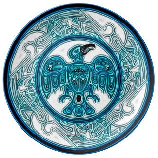 Mandala för örnanderesa porslinstallrik