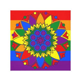 Mandala LGBT för gay prideflaggafärger Canvastryck