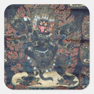 Mandala (målad parchment) fyrkantigt klistermärke