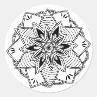Mandala Sticker Svartvit Runt Klistermärke
