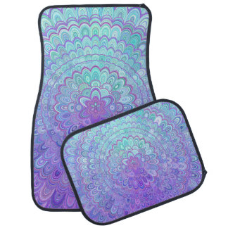 Mandalablomma i ljust - blått och lilor bilmatta