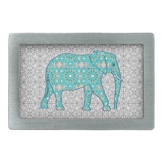 Mandalablommaelefant - turkos, grå färg & vit