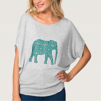 Mandalablommaelefant - turkos, grå färg & vit tee
