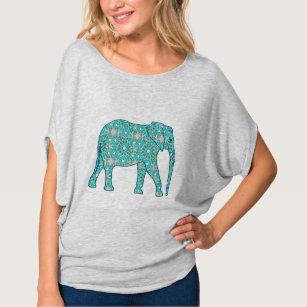 Mandalablommaelefant - turkos, grå färg & vit tee shirt
