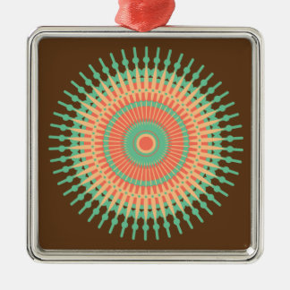 Mandaladesigngrönt, orange indier julgransprydnad metall