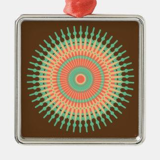 Mandaladesigngrönt, orange indier silverfärgad fyrkantigt julgransprydnad