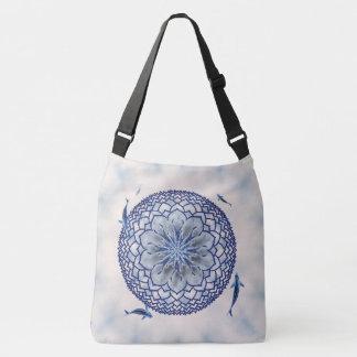 Mandalaen för blåttKoi lotusblomma hänger lös Axelväska
