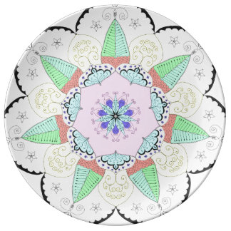 Mandalakonst mönstrar blom- Yoga om för Porslinstallrik