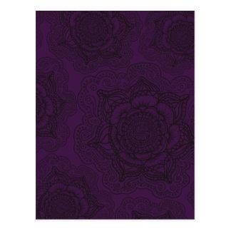 Mandalamönster för kungliga lilor och svart vykort