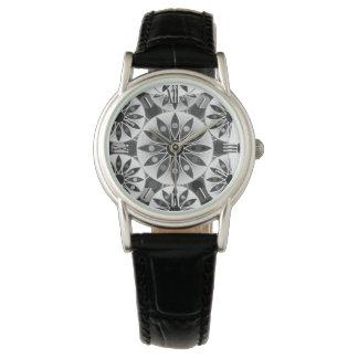 Mandalamönster, svart, vit och grått/grå färg armbandsur