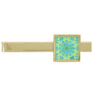 Mandalamönster, turkos, blått, limefruktgrönt slipsnål med guldfinish