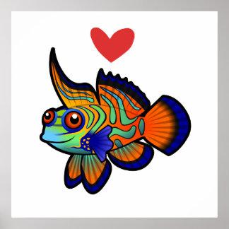 Mandarin-/Dragonet fiskkärlek Poster