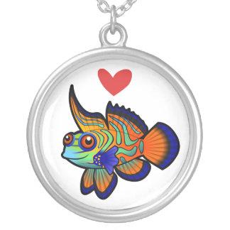 Mandarin-/Dragonet fiskkärlek Silverpläterat Halsband
