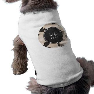 Mandelfärg Camo; Retro svart tavla Hund T-shirt
