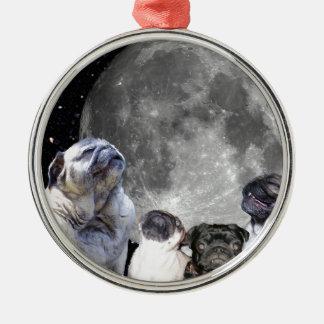 Måne för mops fyra julgransprydnad metall
