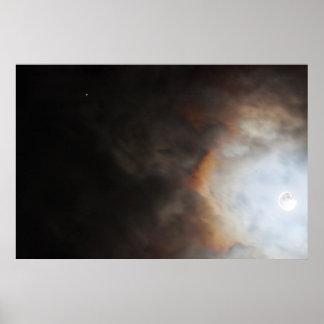 Måne- och Jupiter fotoaffisch Print