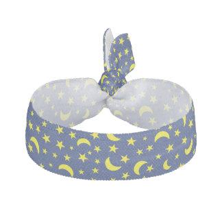 Måne- och stjärnamörk - blåttbakgrund hårband