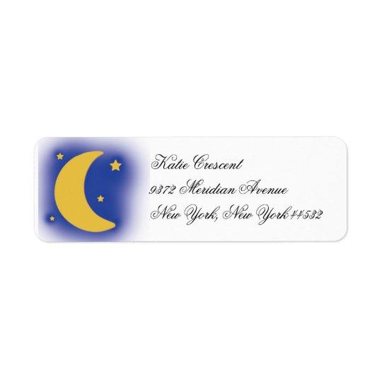 Måne- och stjärnareturetiketter returadress etikett