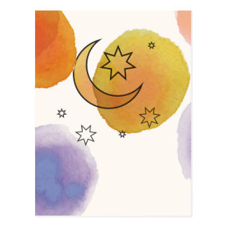 Måne och stjärnor vykort