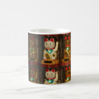 Maneki-neko 002, Winke-Glueckskatzen, Winkekatze Kaffemugg