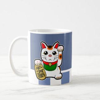 Maneki Neko: Japansk lycklig katt Vit Mugg