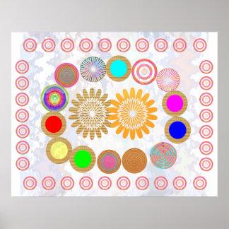 MÅNEN och cirklar Konstför barnrum Posters