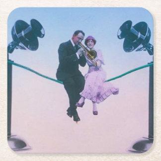 Manen och kvinnan sitter ringer på binder 1900 underlägg papper kvadrat
