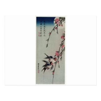 Månen, svalor och persikan blomstrar vid Hiroshige Vykort