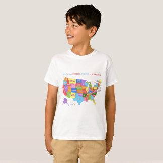 Mång--Färgad karta av Förenta staterna T-shirt