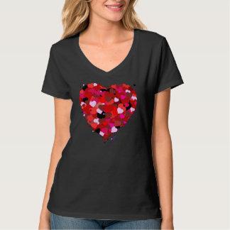 Mång--Färgad Nano svart V-Nacke för hjärtor Tee Shirts