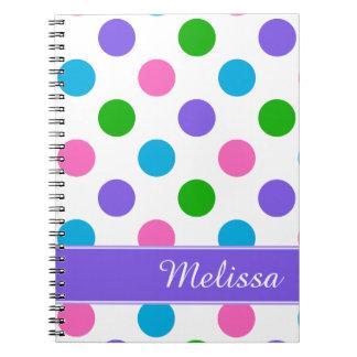 Mång- färgpolka dots anteckningsbok