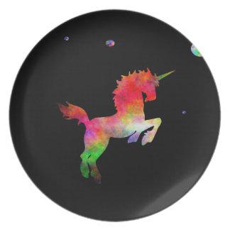 Mång--hued Unicorn för djupt utrymme Tallrik