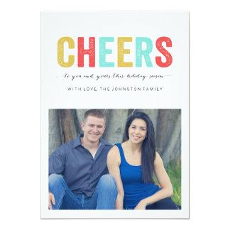 Mång- kort för lägenhet för foto för färgjubeljul 12,7 x 17,8 cm inbjudningskort