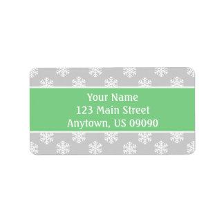 Mång- snöflingoradressetiketter (Mint/silver) Adressetikett