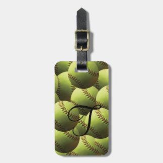 Mång- tapet för gul softball bagagebricka