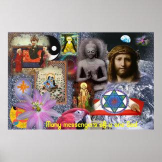 Många budbärare av en en gud poster
