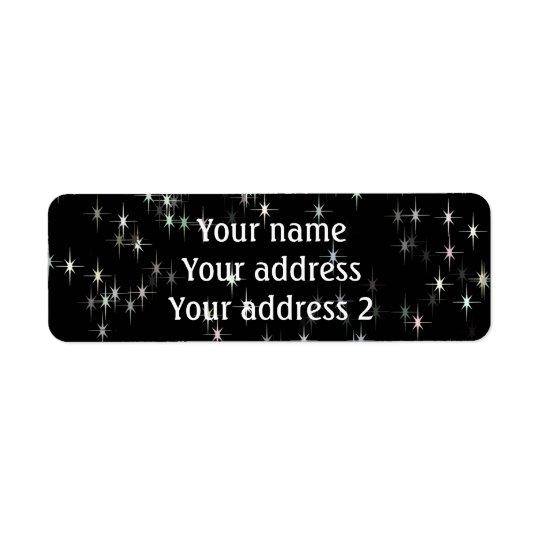 Mångfärgade pastellfärgade stjärnor/svart bakgrund returadress etikett